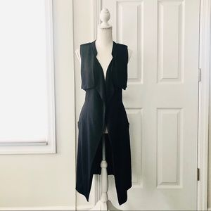 ASTR Navy Blue Crepe Long Trench Flowy Vest XS